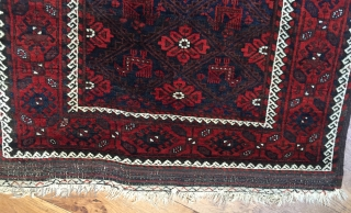 Antique Khorassan area Baluch rug with peacocks 