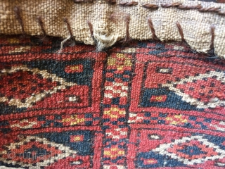 Rare antique  Tekke Turkmen chanteh size bag 29 x 17 cm Ca 1900 all wool and (unusually) natural dyes, all original back,  one hole to bottom  But no knots missing needs  ...