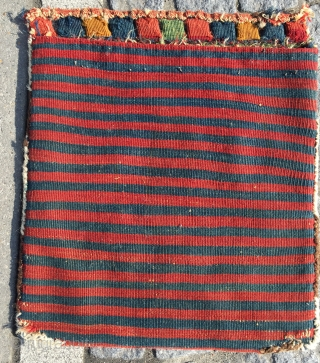 Great antique sumac bag mid 19 c the nicest rendition of this design I have had  All wool good colours original back some corrosion to Browns hand washed
