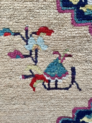 Very fine antique Tibetan (or possibly Kansu) rug size 135 x 75 cm. All wool and natural dyes excellent condition a little beauty