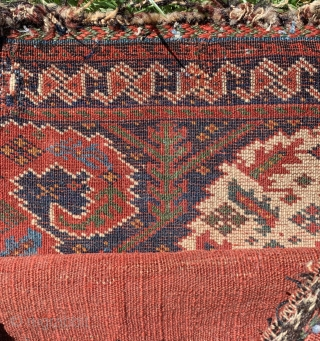 Botehlicious !  Sweet antique Afshar chanteh fine weave velvet like wool excellent condition sides have been rebound at some stage original back reduced price £650