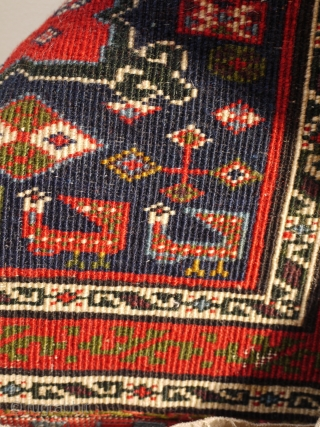 rare and interesting antique north west Persian (shasavan ?) bagface fragment ca 1880 size 64 x 68 cm. All natural dyes and wool construction. Great colours including aubergine. loosely mounted on cotton  ...