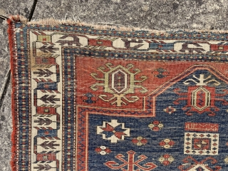 Lovely antique fachralo prayer rug dated 1864 (1277) Finer than average with all natural dyes including a nice purple. Complete piece with some original kelim finish and selvedge remaining. Has some wear and  ...