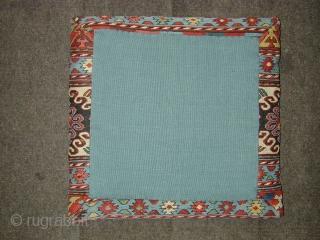 beautifull antique Shasavan sumac cradle end panel made up as a cushion. Ca 1880