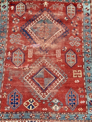 Antique Fachralo kazak 19 c unusual size about 6 x 5 feet not cut. Saturated natural dyes good restoration project couple of taped slits on back  Shipping included