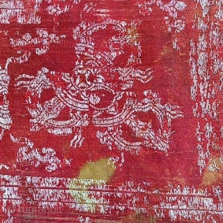 Very old Buddhist silk fragment of a altar cover from Himalaya destination The figure Dorje/Vajra one of the most famous culture items of Buddhismus. Age-related condition, but very special...  size: 62cm x 22cm