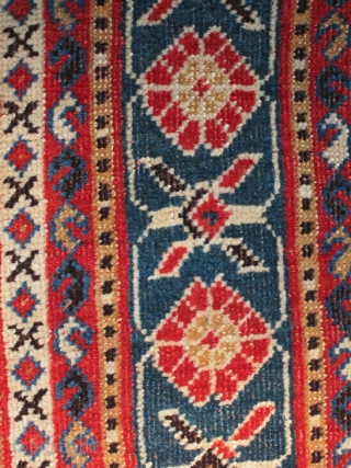 Small Qashqai, possibly Kashkuli subtribe, very fine and exquisite weaving, 155 x 105 cm. All original with just a little wear to the selvages, dark blue ground, 1860-1870. All good magnificient colours!  ...