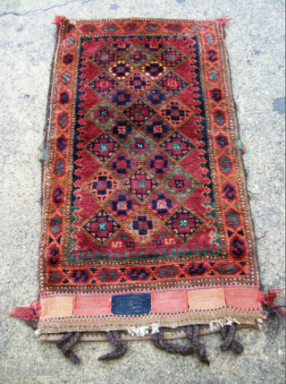Unusual Baluch Balisht full Bag with beautiful kilim back- Do not pass up until you see photo taken inside. What I like about this piece is that it is quite lively and  ...