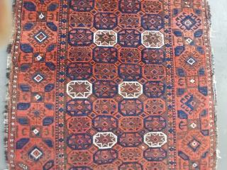 An unusual antique Baluch. All you need is a horse to wrap up the sides and its ready to ride. It measures 36 x 63 inches and is symmetrically knotted. Looking at  ...