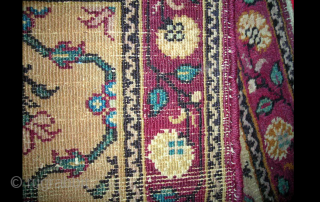 Antique miniature Indian rug with Mughal design. Agra? 26inches by 36inches.