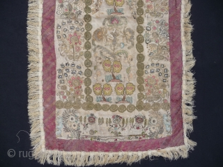 SOLD OTTOMAN PRAYER CLOTH : 18th Century : 3ft x 2ft  Ethereal and decorative hanging made of various sections of 18th century   Ottoman embroidery.
