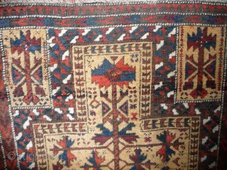 """SOLD Charming small Baluch prayer rug; 19th cent.; 4ft x 2ft7ins. Nice wool , good condition, """"truly tribal"""""""