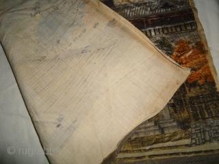 Massive Japanese 19c. Meiji Era Velvet Cut Signed Landscape Tapestry Size. 23 inch by 21 inch.