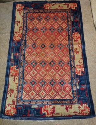 Antique Chinese carpet. Good condition. Size 5.2 by 3.2 feet.