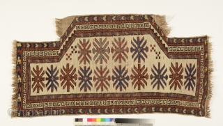 Kyrgyz Saddle Rug, Alai mountains, c. 1880, all-natural dyes, in a museum condition, a rare piece Size: 51cm by 102cm For a similar rug see Antipina K.I. The Kyrgyz Carpet. Ed. by George W.  ...