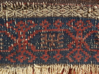 An early Timuri, Baluch prayer rug. Ca. 19th century. A finely woven blue ground prayer of exceedingly rare type.  The wool quality along with very well saturated dyes and elaborately detailed  ...