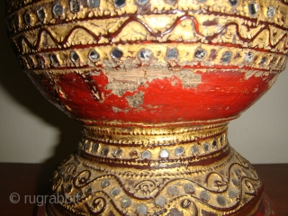 An extremely rare, well preserved, Mid19thCentury Lacquered Gold-gilt Water Vessel with Cup Cover.  Used in Royal Households during the Konbaung Dynasty (c.1752-1887)/ Mandalay Period. Approx. Dimensions: Height:17in (44cm) Circumference:22in (56cm). Materials used: Woven Bamboo;  ...