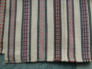 Rare, Antique White Silk Shahsavan Jajim. Mint condition.8 panels. Multicoloured striped patterns on White Ground. Approx. Size: 155cm(width) x 216cm(length).