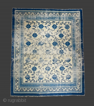 Kangxi era carpet with an incredibly balanced drawing. Selling at a much reduced price. Condition issues as visible but complete and truly beautiful. 10' x 8'.