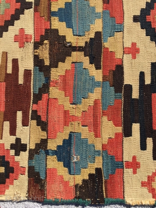 "Kilim with great soft, harmonious colors. Scattered, small repairs. 5'1"" X 8'10"""