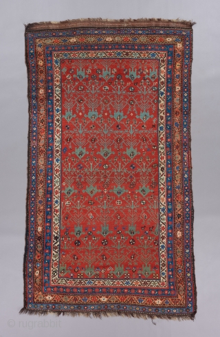 "Kurdish or Qashqai rug. Great field design with interesting negative space. 7'4"" x 4'."