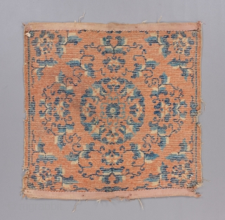 """Ningxia square with great drawing, age and somewhat rare ground color. Early 19th. 2'4"""" x 2'5"""" Condition issues as visible.   Please visit our website for more rare woven art: www.bbolour.com"""