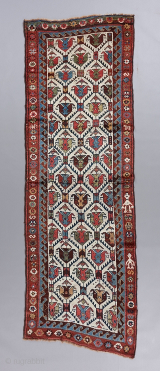 """Superb Kurdish runner. Great color, wool, condition and age. This piece has no excuses. 10'1"""" x 3'3"""".   Please visit our website for more rare woven art: www.bbolour.com"""