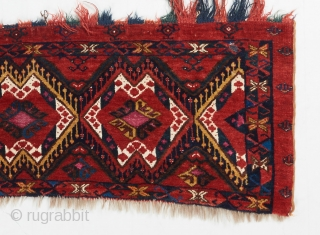 Gorgeous Ersari torba with rare silk and cotton highlights. Outstanding color, handle and wool. Fine weave for the type. One small patch repair a the bottom center of left using another Turkmen  ...