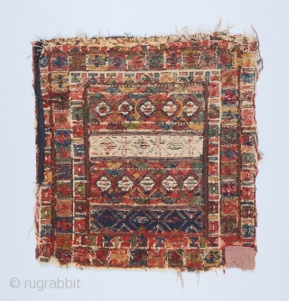 """Shahsavan? Soumak bagface. I believe this is a rare and early piece. 1'7"""" x 1'6"""".  Foundation is wool and cotton. The whites are in cotton. All original except for some small  ..."""