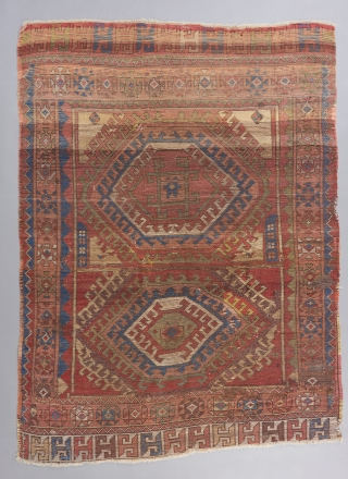 """A bold, powerful and early Konya piece. Lush pile in parts .Possibly a Yatak? 7' x 5'2""""."""