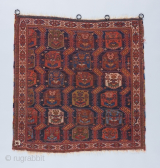 "Afshar piled Ru Khorsi.  Great color. Fine weave. Beautiful soft, supple quality. Red wefts. 3'2"" x 3'2"". An old one of the type. Fresh to the market. All original except for  ..."