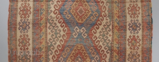 """Kazak with very good age. Great bold color and design that we all love too see in this type. 7'9"""" x 5'3"""". Great pile in some places. Cut and reattached in a  ..."""