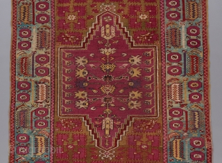 "Kirshehir rug. Earlier than most. A rare, classically derived double niche design for this type, with a Ghiordes type border. Beautiful color harmony. Good condition. 5'7""x 4'1"".