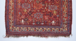 """A rare and beautiful Khamseh rug. A cornucopia of tribal iconography including a  formation of mother and child bird motifs at the top . 7'5"""" x 4'7"""".   Please visit our website  ..."""