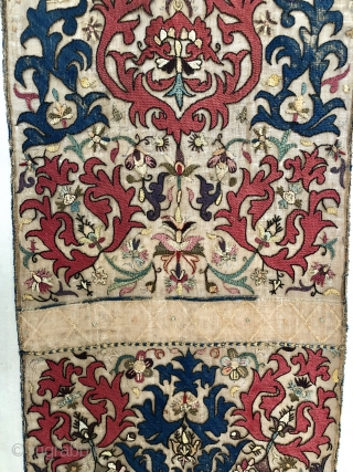 """Algerian Ottoman textile. Gorgeous color and great detail and form in the drawing. 3'2"""" x 1'11"""". Backed by linen."""