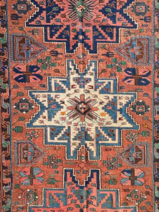 "Lesghi star soumak. 4'11"" x 9'10"". First third 20th century. Some old repair and a few lower areas, but very attractive and ready to be put into use. Please contact me for  ..."