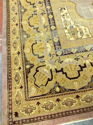"""Rare antique Agra rug. Distressed condition. Background is a beautiful dusty rose. Detail colors include gold, deep maroon, butter yellow, and cream.  Size: 8'11"""" x 11'10""""  Age: 1890s  Condition: Distressed condition with low pile and  ..."""