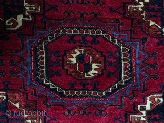 Antique turreted gul Tekke rug. Vibrant all natural dyes. Excellent pile. Size is 4'2 x 6'6. Fine weave, face like velvet, leathery back. Some tiny repairs and one corner rewoven all good  ...