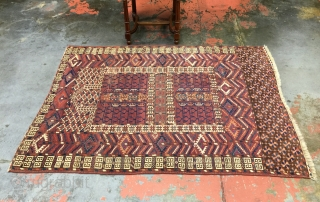 "Antique Yomud Turkmen ensi rug. Late 19th century. Nice all natural dyes. Size: 3'8""x5'0"" Good condition with low pile and small areas showing wear. Great looking rug."