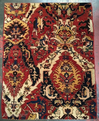 "Genuine Woven Legends® Caucasian Dragon Rug ""fragment"". Pre-owned, but in excellent original condition. Size: 4'2 x 5'4. Wool on wool with natural dyes. This rug was hand knotted on village looms in  ..."