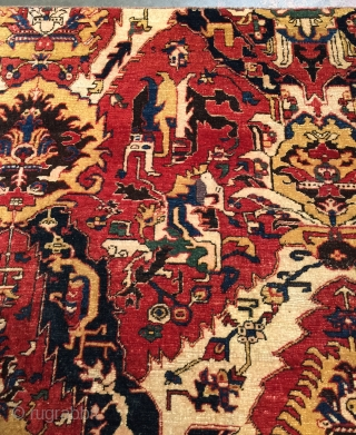 """Genuine Woven Legends® Caucasian Dragon Rug """"fragment"""". Pre-owned, but in excellent original condition. Size: 4'2 x 5'4. Wool on wool with natural dyes. This rug was hand knotted on village looms in  ..."""