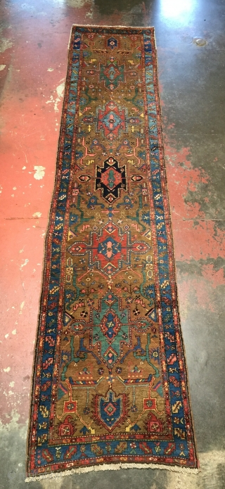 Gorgeous Antique Bakshaish runner. Top quality in excellent full lustrous pile condition. Size: 3'0 x 13'5. Rare olive green ground. All dyes are clear, bright, and natural. Circa 1910-1920. Please contact me  ...