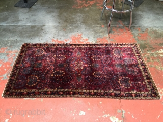 Antique Sarouk or Kashan. Size: 2'6 x 4'9. Very fine weave with very soft supple handle. Silky pile over the whole surface with lower pile only at the very edges. Some color  ...