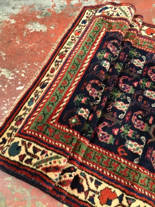 "Playful one of a kind Northwest Persian Kurdish village runner c1930. Size: 3'4"" x 18'4"". Long soft fleecy wool and gorgeous natural colors including a pretty deep blue ground, lots of apple  ..."