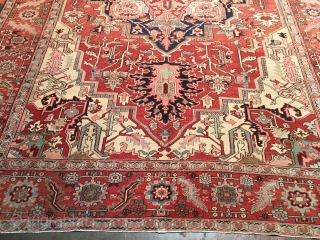 Antique Heriz Serapi circa late 19th century. Sublime light color palette and grand scale. Size: 10ft x 14ft9in. Excellent condition with even low pile. Overcast selvedges. Ready to use. A true masterpiece.  ...