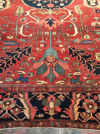"Exceptional late 19th c. antique Serapi rug. Size: 9'7"" x 13'7"". Superb natural dyes, glossy wool, and fine weave. Good condition with even low pile. Narrow guard borders missing at both ends,  ..."