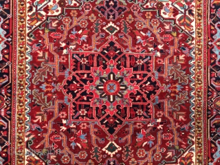 """Small superb quality Heriz rug circa 1930. Size: 5'0"""" x 6'2"""". Clear jewel colors, soft glossy wool, fine weave, and a supple handle. Perfect condition with thick full pile over the entire  ..."""