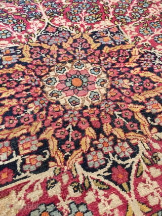 "Antique Kerman Kermanshah rug circa late 19th century. Size: 9'5"" x 13'7"". Beautiful colors typical of this type with cochineal, pale yellow, lime, blue-black, pale blue, royal blue, burnt orange, tan, etc...  ..."