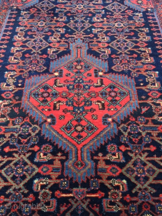 """Top notch Enjilas or Tajabad village rug circa 1930. Size: 4'4"""" x 7'3"""". Vibrant all natural dyes and rich sparkling wool. Mint condition. Soft supple handle. Cotton warps with wool weft. Clean  ..."""
