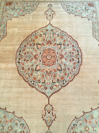 "Antique Tabriz c.1910 of the Haji Jalili milieu. Size: 9'7"" x 12'3"". Transcendent elegance. Good condition and floor ready. Does have some minor flaws and some localized wear.  Hand spun glossy  ..."